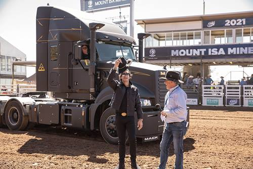 Johnathan Thurston arriving in Black Mack Super-Liner to Mt Isa Rodeo