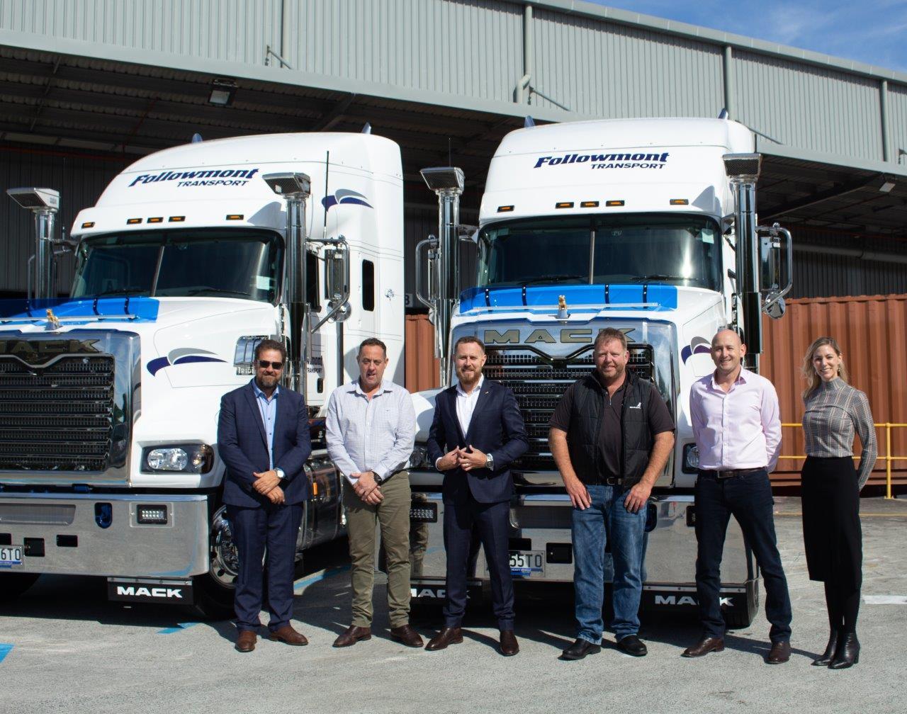 VCV Brisbane Area Sales Manager Steve Helms, Followmont Managing Director Mark Tobin, Vice President Mack Trucks Australia Tom Chapman, handover of Mack Evolution Tridents