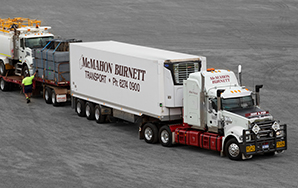 The BJ Matthews Granite with a flatbed trailer