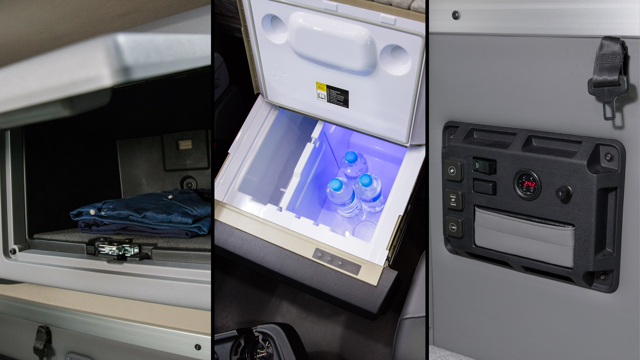 Split screen image of the Anthem interior cabinet storage, under-bunk fridge/freezer and sleeper control panel.